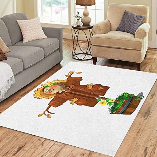 Pinbeam Area Rug Yellow Farm Perfect Scarecrow Cartoon Cute Fall Halloween Home Decor Floor Rug 5' x 7' Carpet ()