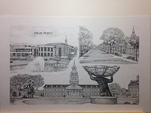 High Point University 11''x17'' pen and ink collage print by Campus Scenes