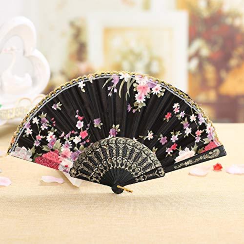 - OrchidAmor Best Chinese Style Dance Wedding Party Lace Silk Folding Hand Held Flower Fan