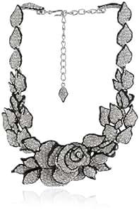 Kenneth Jay Lane Black Enamel, Silver and Rhinestone Flower Necklace