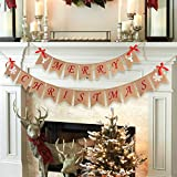 Aytai Snowflake Reindeer Merry Christmas Burlap Banner for Holiday Christmas Decoration, Christmas Party Props Favors Xmas Garlands Banner Sign