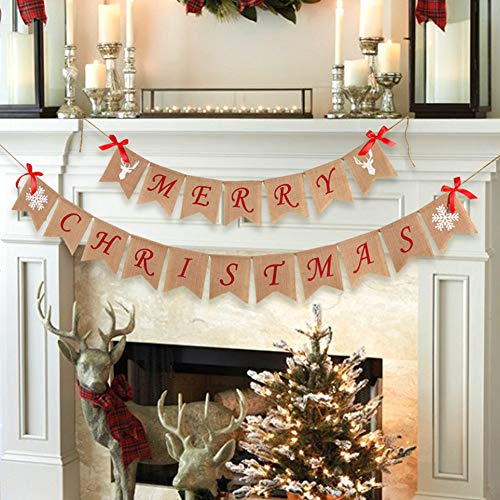 Aytai Snowflake Reindeer Merry Christmas Burlap Banner for Holiday Christmas Decoration, Christmas Party Props Favors Xmas Garlands Banner -