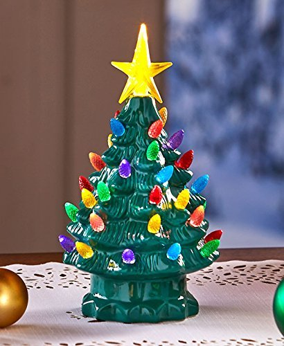 retro lighted tabletop christmas trees green small