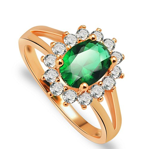 PSRINGS show rose gold plated filled green zircons crystal classic wedding rings 5.0