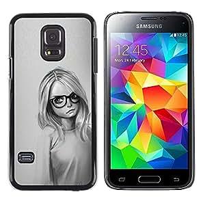 LECELL--Funda protectora / Cubierta / Piel For Samsung Galaxy S5 Mini, SM-G800 -- Muchacha Con Los Vidrios --