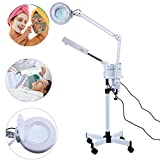 Facial Steamer Ozone - 3 in1 5X Magnifier Floor Lamp + Cold Light LED UV Ozone Facial Steamer for Skin Care Clean Spa Salon