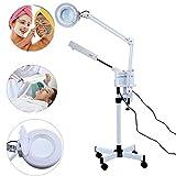 Facial Steamer Salon - 3 in1 5X Magnifier Floor Lamp + Cold Light LED UV Ozone Facial Steamer for Skin Care Clean Spa Salon
