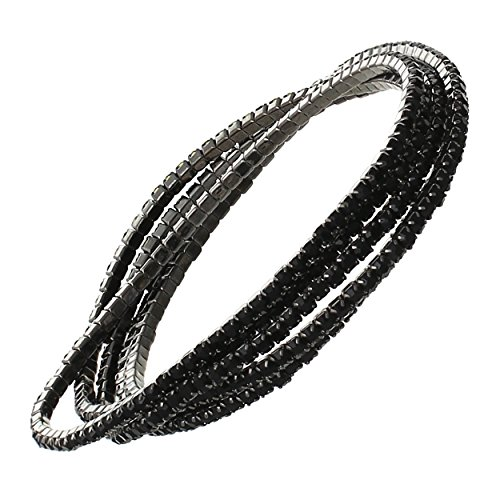 Rosemarie Collections Women's Set of 5 Rhinestone Stretch Bracelets (Hematite/Jet Black)