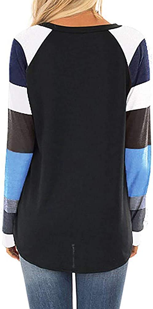 Hessimy Womens Top Womens Casual Long Sleeve Tops Round Neck Pocket Sweatshirts Tunic Blouse