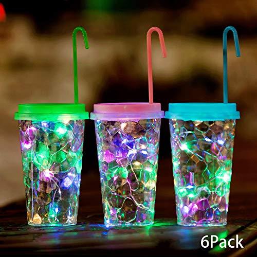 6 Pack Solar Led Lights 15 LED Hanging Drink Cup Lanterns Dusk to Dawn Waterproof Transparent Plastic Cup Lights Jar Lids String Lights Decor for Patio/Lawn/Garden/Path (Colorful)