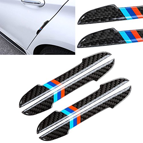 Edge Carbon Fiber Bumpers - Xotic Tech Balck Real Carbon Fiber M-color Car Side Door Edge Guard Protection Trims Stickers For BMW