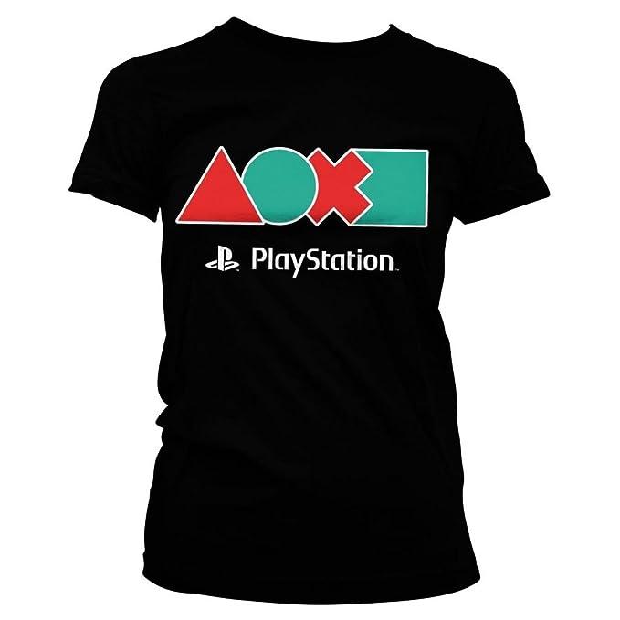 Iconos de botón controlador de PlayStation oficial damas equipado t - camisetas Retro: Amazon.es: Ropa y accesorios