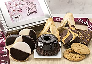 Dulcet Get Well Soon Gift Basket – Lovely Reusable Cookie Tin Loaded with a Fine Variety of Pastries to Convey Get Well Wishes & Boost Spirits!