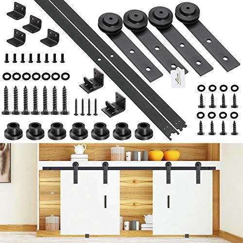Yescom 5 Ft Mini Double Cabinet Sliding Barn Wooden Door Hardware Roller Track Rail Kit TV Stand Wardrobe Closet Kitchen