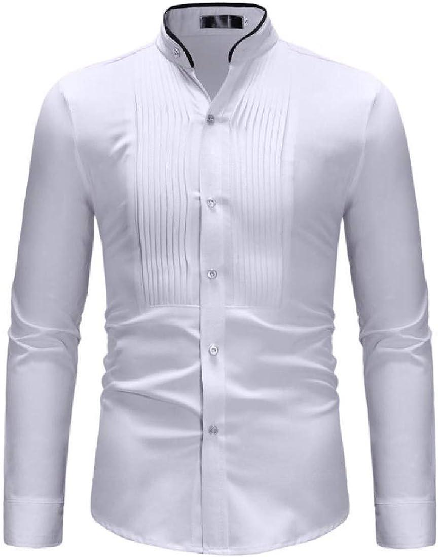 Highisa Men Button-Down-Shirts Tops Stand Collar Pure Color Blazer Shirt