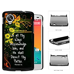 Proverbs 3:6 Bible Verse with Orange Yellow Floral Vine Design and Black Background Nexus 5 Hard Snap on Plastic Cell Phone Case Cover