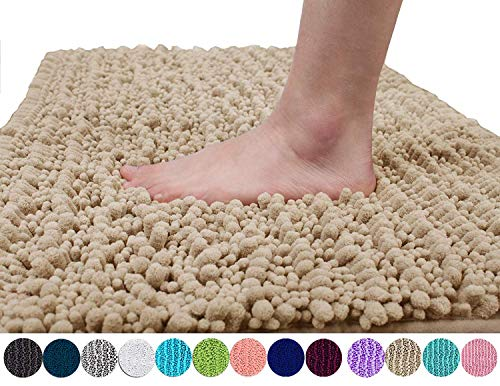 Yimobra Original Luxury Shaggy Bath Mat, Soft and Comfortable, Super Absorbent and Thick, Non-Slip, Machine Washable, Perfect for Bathroom Bedroom (31.5 X 19.8 Inches, Beige) (Beach Bath Rugs Set)