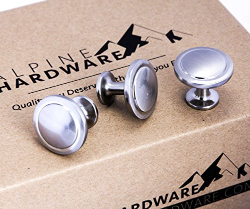 Cabinet Hardware Round Knob - 1-1/4 Diameter (Knob - Satin Nickel Brushed, 10 Pack)...