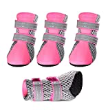 Petsee Dog Shoes Pet Boots with Non-slip Soft Sole, Mesh and Reflective Velcro for Small Dogs (XL(2.32'' x 1.89''), Pink)