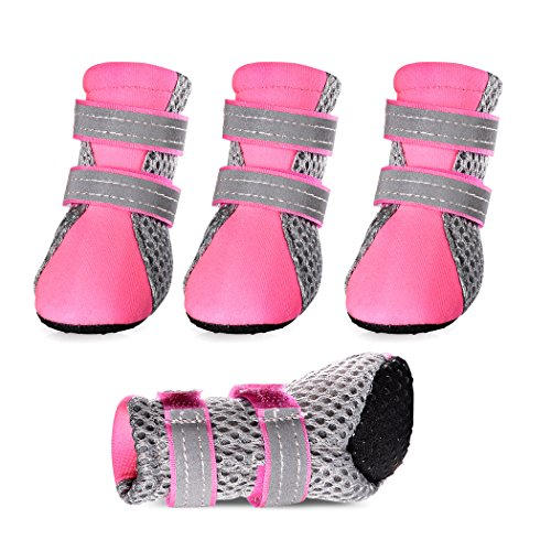 Petsee Dog Shoes Pet Boots with Non-slip Soft Sole, Mesh and Reflective Velcro for Small Dogs,Pet walking shoes