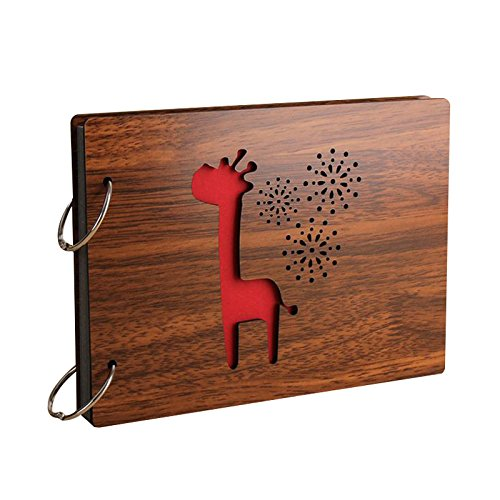 Handmade Album - SODIAL(R) 8 Inch Redwood Cover Albums Handmade Loose-leaf Pasted Photo Album 30 pages Personalized Photo Album(Giraffe) (Personalized Magazine Covers)
