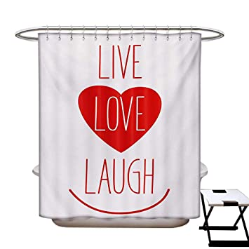 BlountDecor Live Laugh Love Shower Curtain Customized Way Of Life Style Heart Icon With Smiling Form