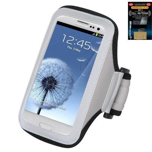 Premium Sport Armband Case for Nokia Lumia 920 - Gray (Grey) + Cell Phone Antenna Booster (Armband Nokia Lumia 920)