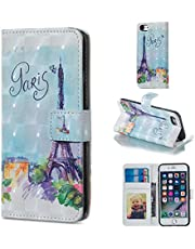 for iPhone 6 Plus/6S Plus Wallet Case and Screen Protector,QFFUN Glitter 3D Pattern Design [Tower] Magnetic Stand Leather Phone Case with Card Holder Drop Protection Etui Bumper Flip Cover