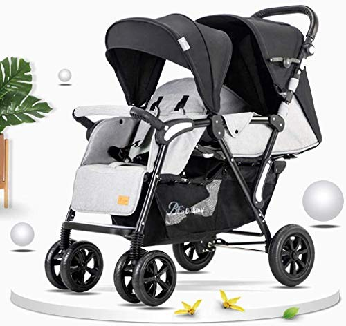 TZZ Double Stroller Foldable with Adjustable Backrest and with 5-Point Safety System Twin Tandem Baby Stroller (Color : Gray1)