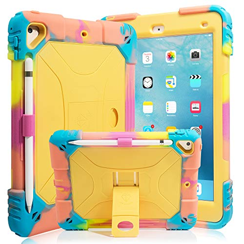 iPad 9.7 Case iPad Air 2 Case iPad 6th/5th Generation Case with Durable Kickstand Hybrid Three Layer Heavy Duty Kids Case with Shockproof for iPad 2 Air & iPad 6/5 gen(2018/2017) (Ice/Yellow)