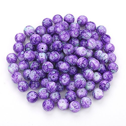 Navifoce Artistic Marble Design Various Color Round Loose Beads Lampwork Glass Bead for Jewelry Making Craft,8mm Diameter (Purple Jade Beads)