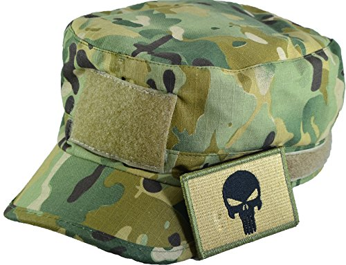 Tactical Multicam Camo Military Army Camouflage Adjustable Patrol Fatigue Cap with Tactical Morale Operator Skull Patch - Multitan (Red Heart Attack Emblem)