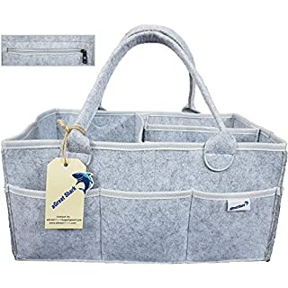 Agreat Shark Baby Diaper Caddy - Nursery Storage Bin and Car Organizer for Diapers and Baby Wipes With Zipper Pocket