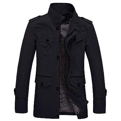 Yesmile ⭐ Chaqueta de Invierno para Hombre Abrigo de Moda Delgado Casual Guapo Outwear Abrigo Delgado Botones de Trinchera Larga