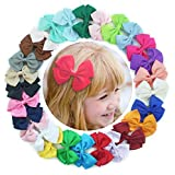 27 Pcs Colors 3 inch Boutique Hair Bows Girls Kids Children Alligator Clip Solid Ribbon Headband by Mylot