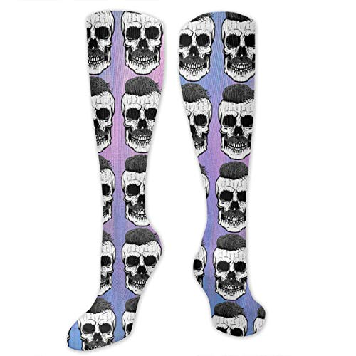 SARA NELL Knee High Socks Cool Skull with Fashion Hairstyle Compression Socks Sports Athletic Socks Tube Stockings Long Socks Funny Personalized Gift Socks for Women Teens Girls -