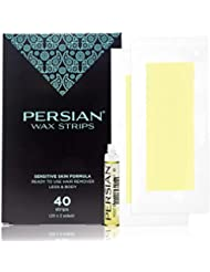 Legs & Body Wax Strips (40 strips), Persian Hair Removal Waxing Strips for Legs, Body, Bikini, Arms, Underarms with After care Oil