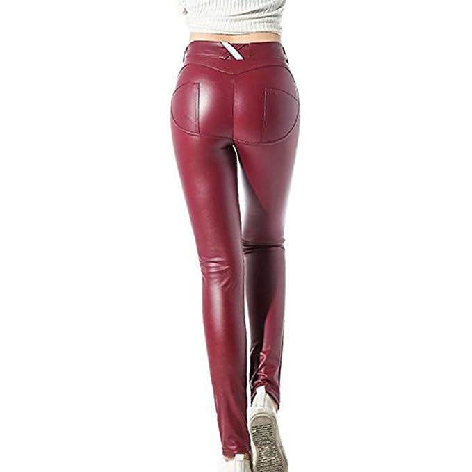 56325ed4a4 Pantalones de mujer S - 3XL Leggings de tela mojada de mujer Skinny PU  Leggings de