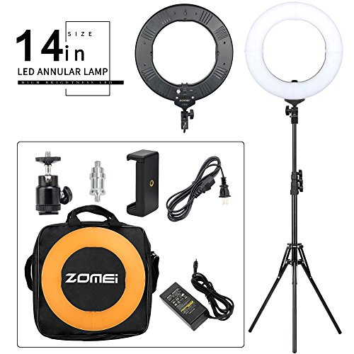 Zomei 14-inch LED Ring Light Kit Dimmable 41W 5500K with One-piece Warm Color Filter Heavy Duty Light Stand Phone Holder for Makeup Youtube Video by BAIPAK