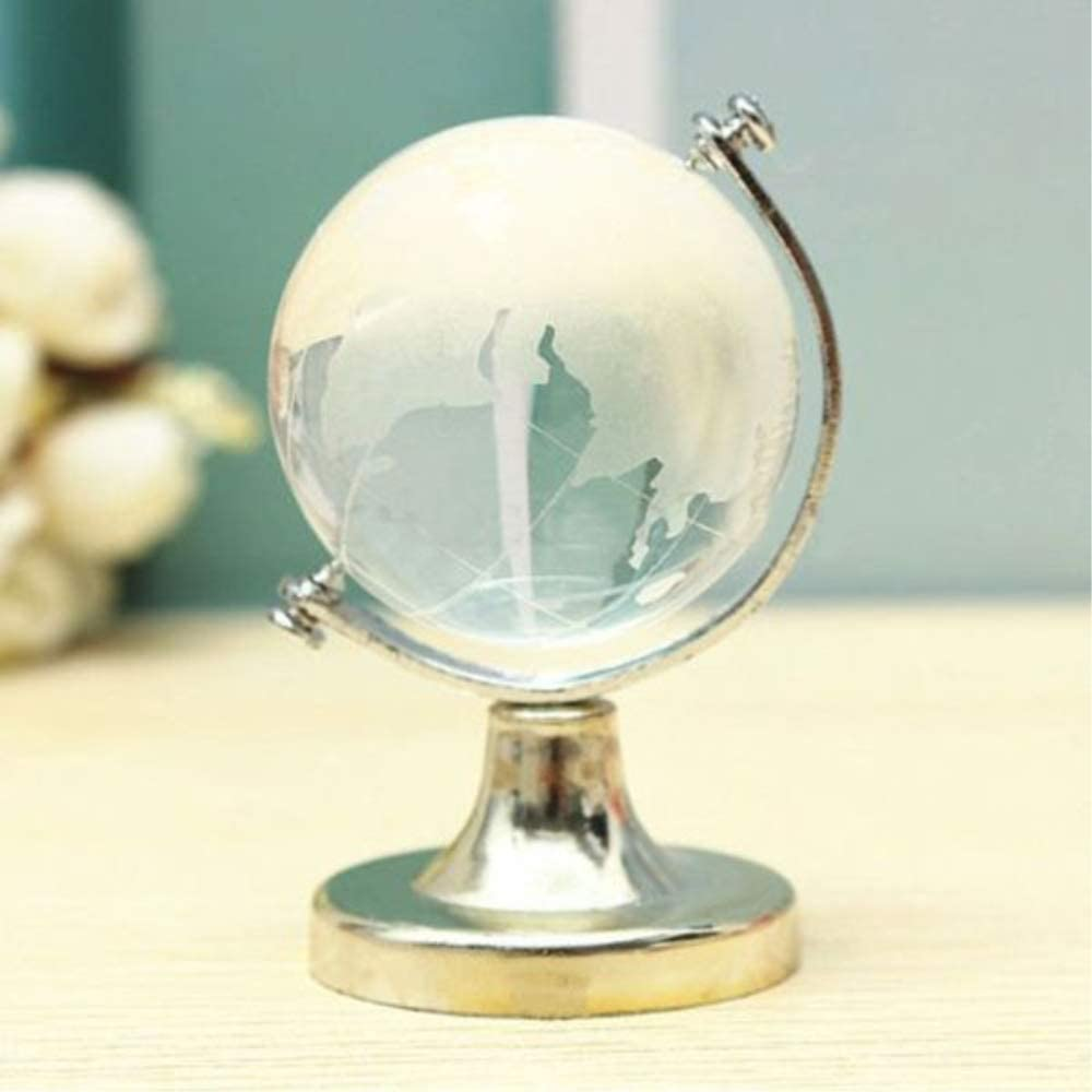 DengRen Mini Crystal Sphere Round Earth Globe World Map Crystal Glass Ball Decorative Crystal Balls Desktop Ornament Home Office Decor Gift Satisfactory Service Silver
