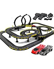 Race Tracks 11.8M Rail Car Slot Car Racing Set Tracer Racers R/C High Speed Remote Control Splicing Track Vehicle Playsets (Color : Electric+Hand Crank, Size : 2 Cars)