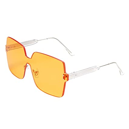 Women Retro Vintage Brown Red Hexagon Shaped Rimless Sunglasses UV400