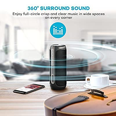 360° Surround Sound TaoTronics Bluetooth Speakers, 20W 15 Hours Super Loud Wireless Portable Speaker (Dual 10W Drivers, Volume & Track Control, Built-in Microphone, Hands-free Phone Calls)