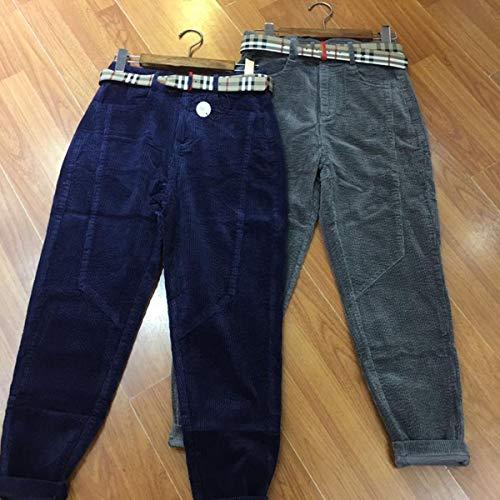 De Blue Largo Y Alta Con Bolsillos Pantalones Deep Pantalón Hvzciuwrn Cintura Pana Plisada 67Cx5Cwq