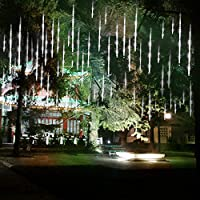 ABDQPC Shower Rain Lights Outdoor Christmas String Lights Drop 11.7inch 8 Tubes Cascading Fairy Lights for Christmastree Garden Wedding Party Home DecorWedding Party Home Decor White