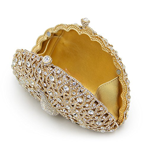 Bags Gold Shape Evening Party Hollow Light Clutch Luxury Purse Flada Womens for Peacock Rhinestones xYOxzXZ