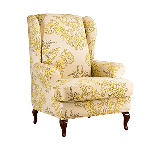 subrtex Printed Wingback Chair Covers 2 Pieces Spandex Armchair Slipcovers Floral Universal Chair Cover Furniture Protector (Yellow)
