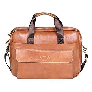 Genuine Leather Briefcase,POLO VIDENG Handmade Briefcases for Men Slim 15″ Laptop Case Business Messenger Shoulder Bags