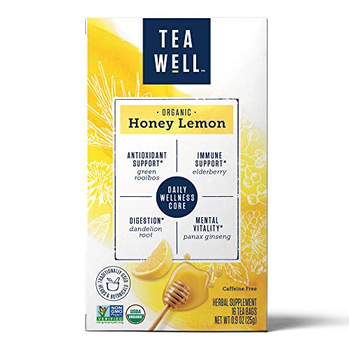 (TeaWell Organic Honey Lemon Wellness Tea, 16 Count Box (Pack of 6))