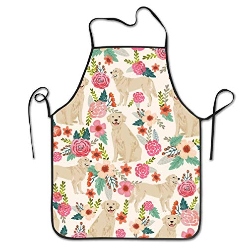 Dsiempwe Kitchen Apron Bib Aprons Women Men Professional Chef Aprons with Extra Long Ties - Golden Retriever Floral Dogs, Water Resistant Waiter Hostess Apron for Restaurant BBQ